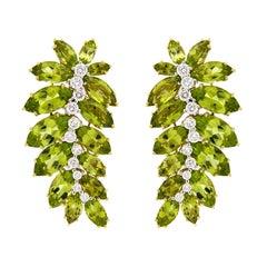 Valentin Magro Marquise Peridot Leaf Motif Earrings