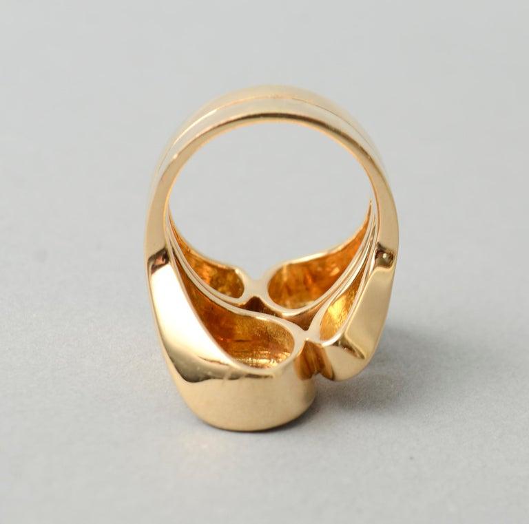 Valentin Magro Modernist Sculptural Gold Ring For Sale 1