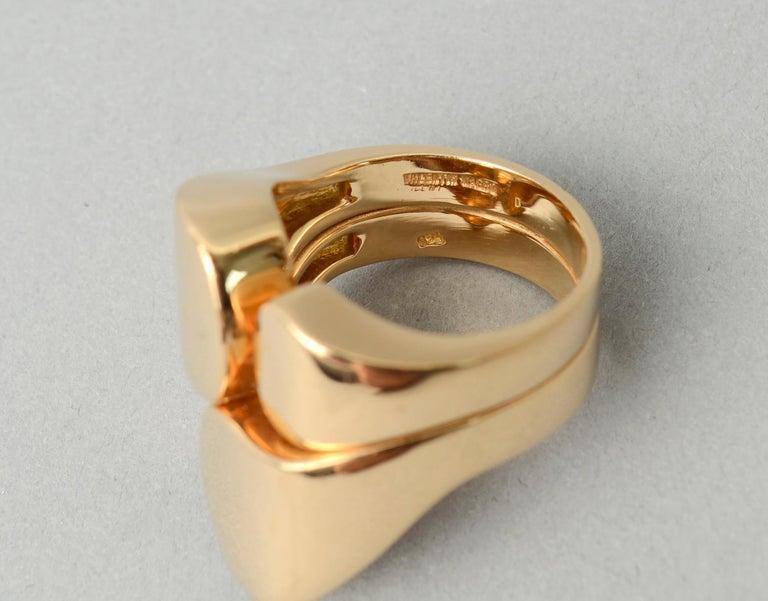 Valentin Magro Modernist Sculptural Gold Ring For Sale 2
