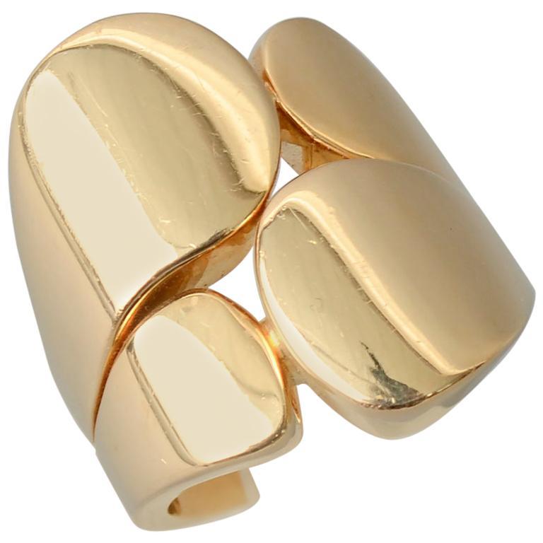 Valentin Magro Modernist Sculptural Gold Ring For Sale