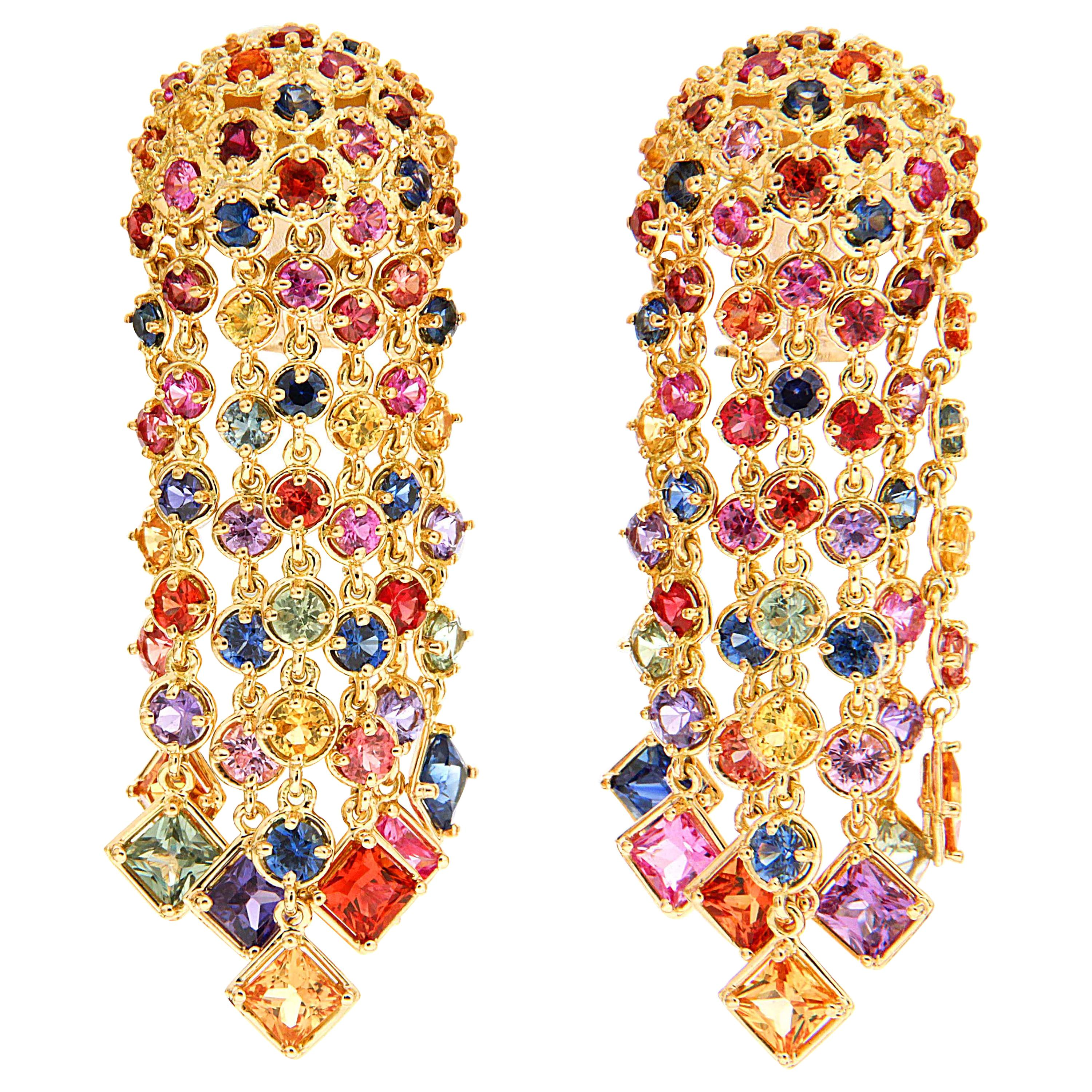 Valentin Magro Multi-Color Sapphire Cascading Waterfall Earrings