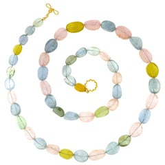Valentin Magro Multi-Color Stone Necklace, Kunzite, Aquamarine and Yellow Beryl