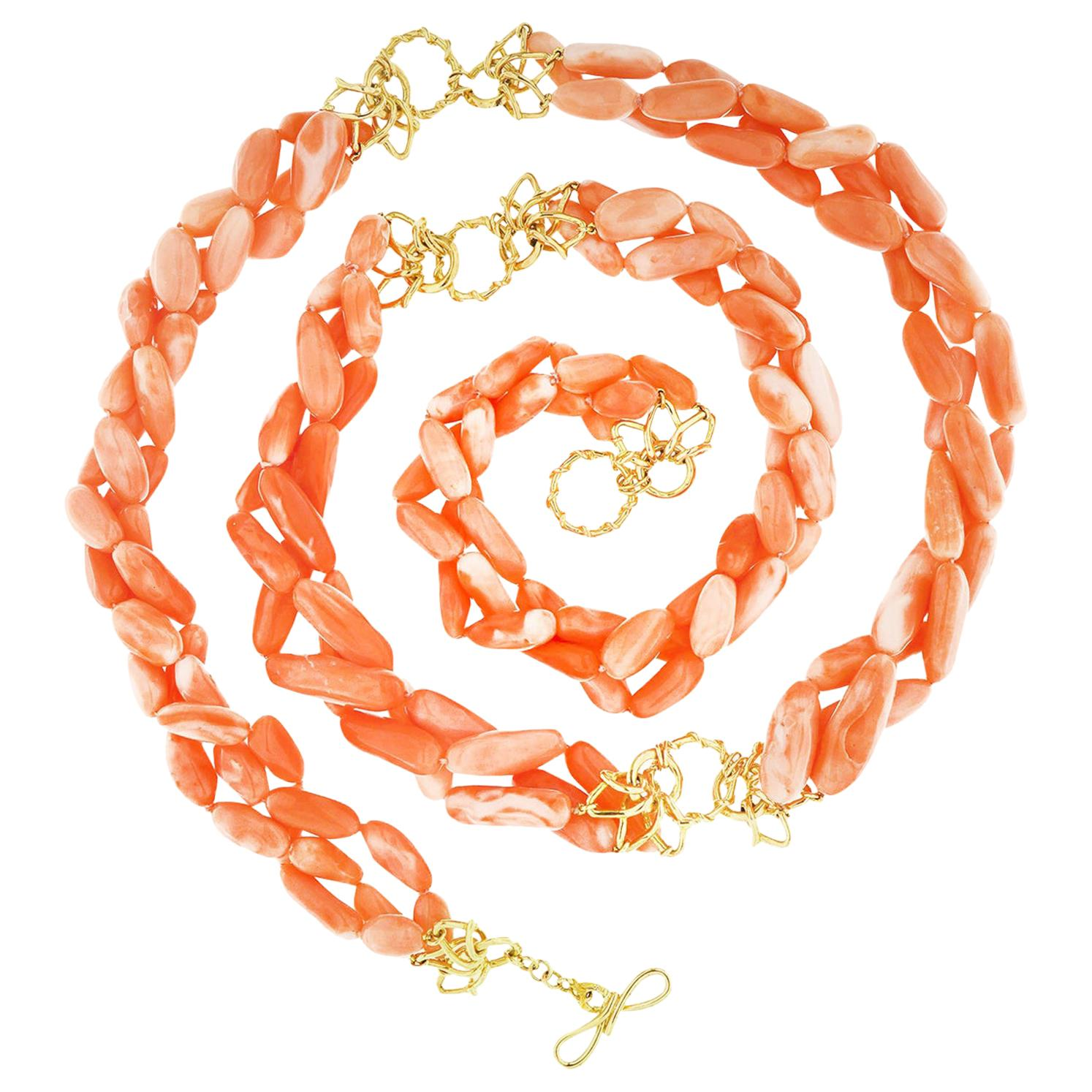 Valentin Magro Multi-Strand Angel Skin Coral Nuggets Necklace with Gold Links