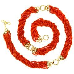 Valentin Magro Multi Strand Orange Pebble Coral Necklace