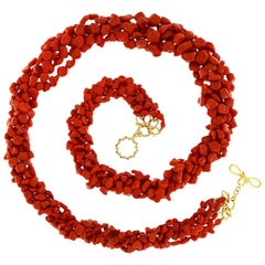 Valentin Magro Multi Strand Sardinian Red Coral Nugget Necklace