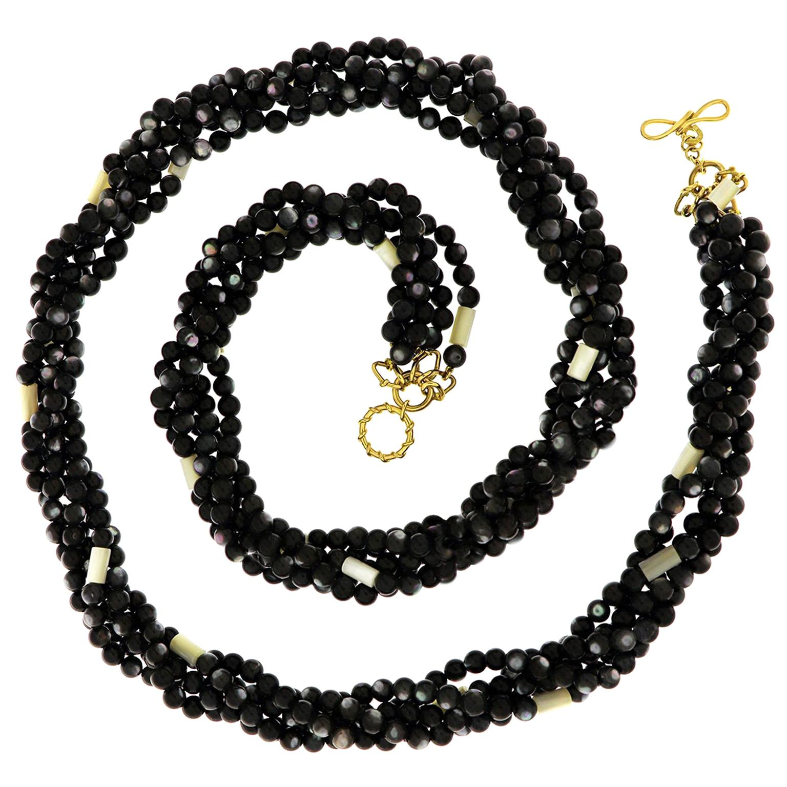 Valentin Magro Multi Strands Black and White Mother of Pearl Necklace