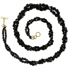 Valentin Magro Multi Strands Faceted Black Mother of Pearl Necklace