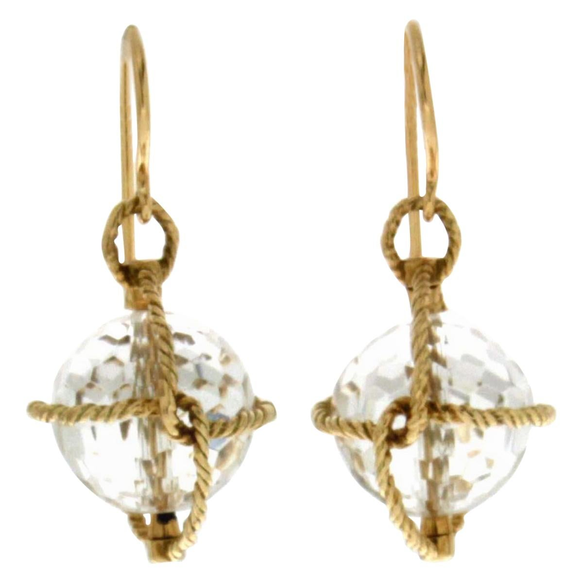 Valentin Magro Nautical Twisted Wire Crystal Ball Gold Earrings