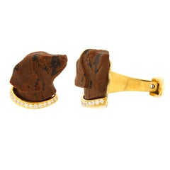 Valentin Magro Obsidian and Diamond Gold Labrador Cufflinks