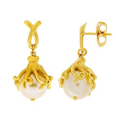 Valentin Magro Octopus Grabbing a South Sea Pearl Earrings