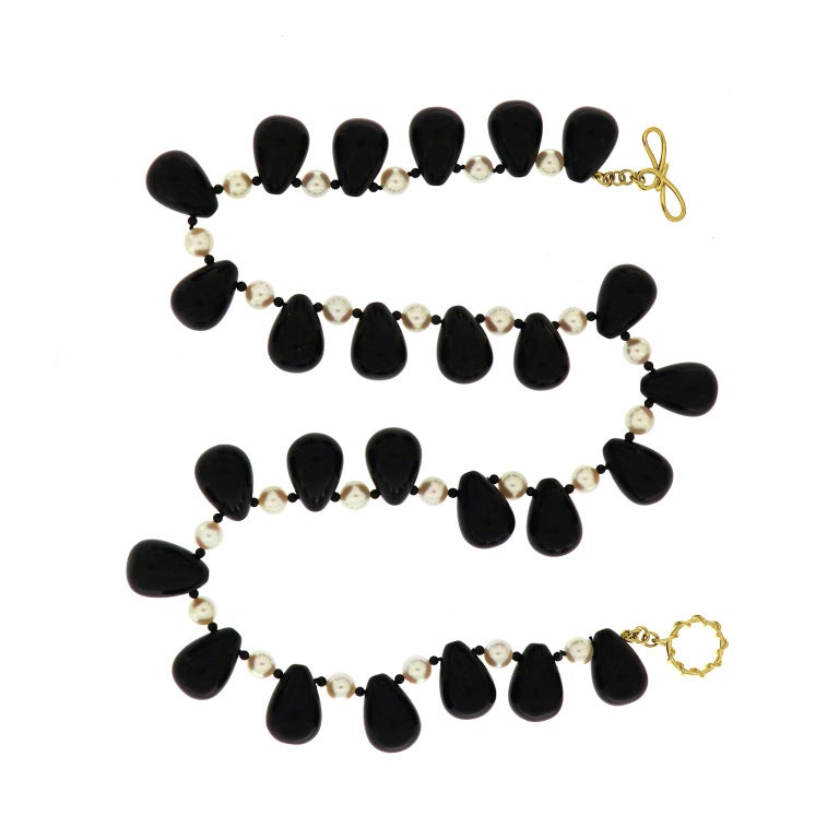 Valentin Magro Onyx Akoya Pearl Necklace In New Condition For Sale In New York, NY