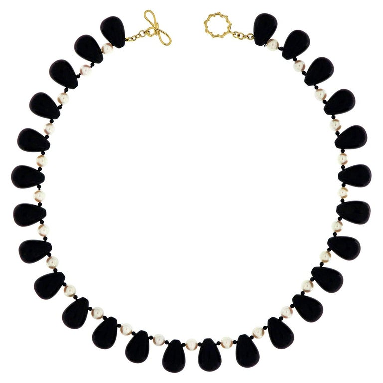 Valentin Magro Onyx Akoya Pearl Necklace For Sale