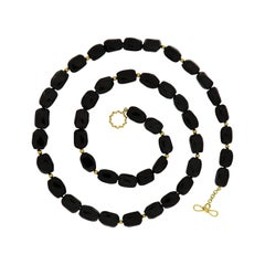 Valentin Magro Onyx and 18 Karat Yellow Gold Bead Necklace