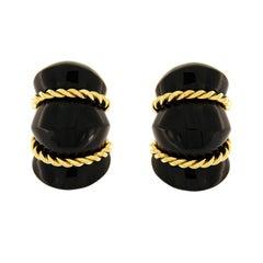 Valentin Magro Onyx Shrimp Earrings
