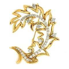 Valentin Magro Open Leaf Diamond Gold Brooch