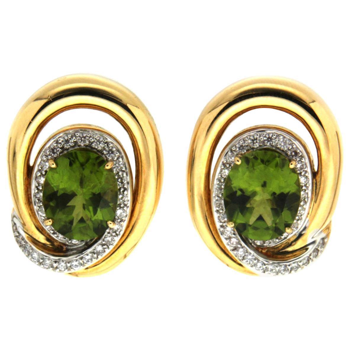 Valentin Magro Openwork Peridot Diamond Swirl Earrings