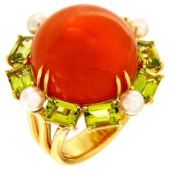 Valentin Magro Orange Moonstone with Peridot and Cultured Pearls Gold Ring