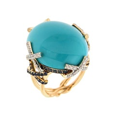 Valentin Magro Oval Cabochon Turquoise Ring with Diamonds & Sapphire on X-Motif