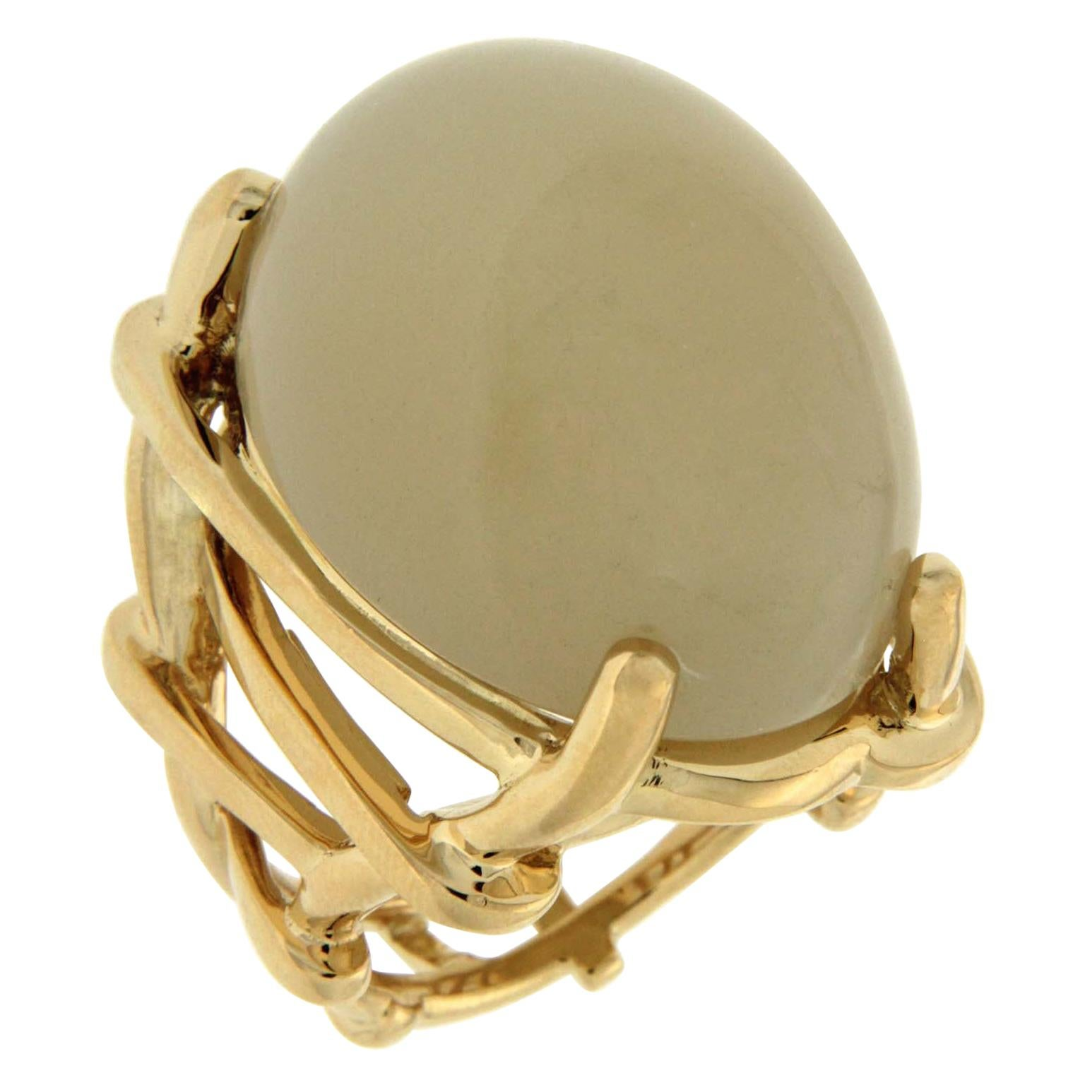 Valentin Magro Oval Celadon Green Moonstone Cabochon Gold Ring