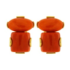 Valentin Magro Oval Coral Cabochon and Rectangle Coral Earrings