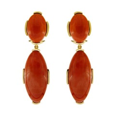 Valentin Magro Oval Dark Red Coral Cabochon Earrings