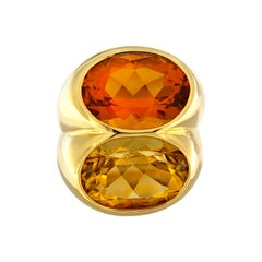Valentin Magro Oval Faceted Madeira Citrine Ring in Gold