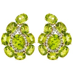 Valentin Magro Paisley Peridot and Diamond Large Earrings