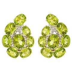 Valentin Magro Paisley Peridot and Diamond Small Earrings