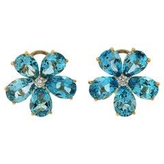 Valentin Magro Pear Shape Blue Topaz and Diamond Cluster Earrings