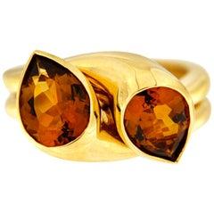 Valentin Magro Pear Shape Puzzle Madeira Citrine Ring