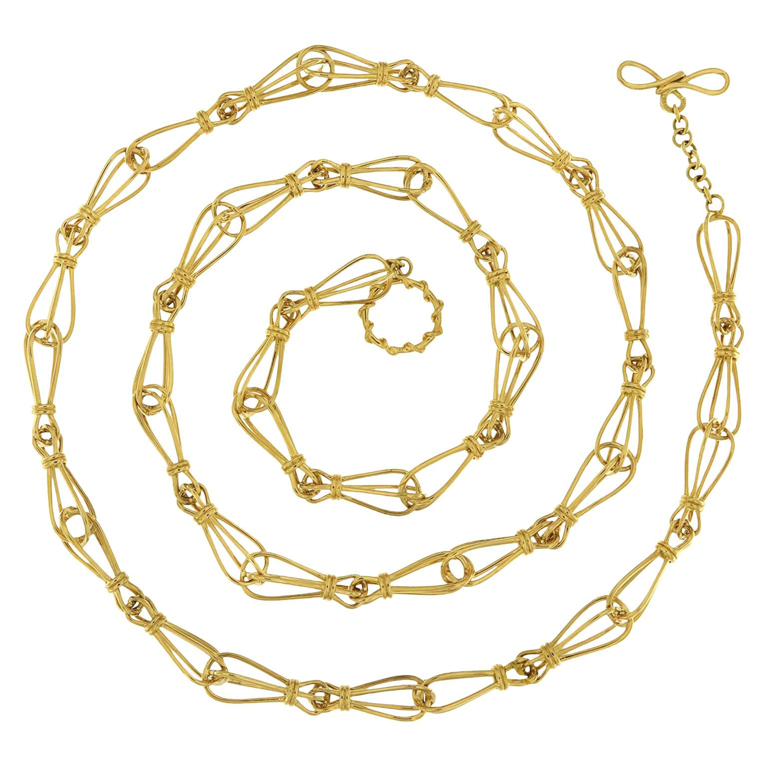 Valentin Magro Pear Shaped Gold Link Chain Necklace