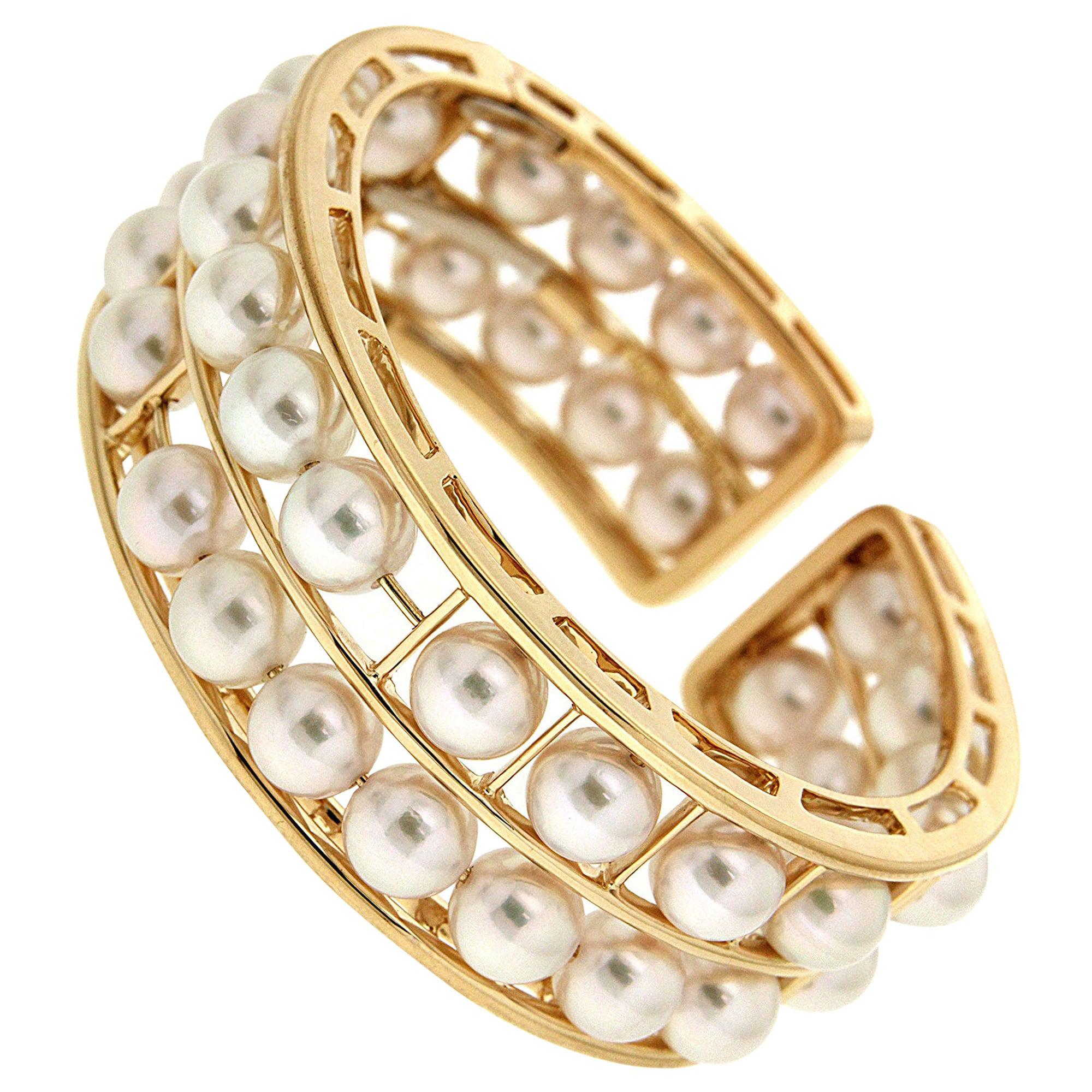 Valentin Magro Pearl 18 Karat Yellow Gold Cuff Bracelet