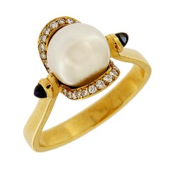 Valentin Magro Pearl, Sapphires and Diamonds Ring