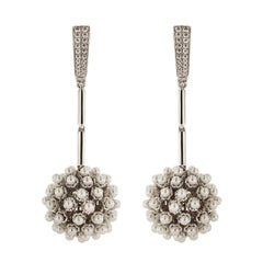 Valentin Magro Pearl Dangling Ball and Diamond Clip Earrings