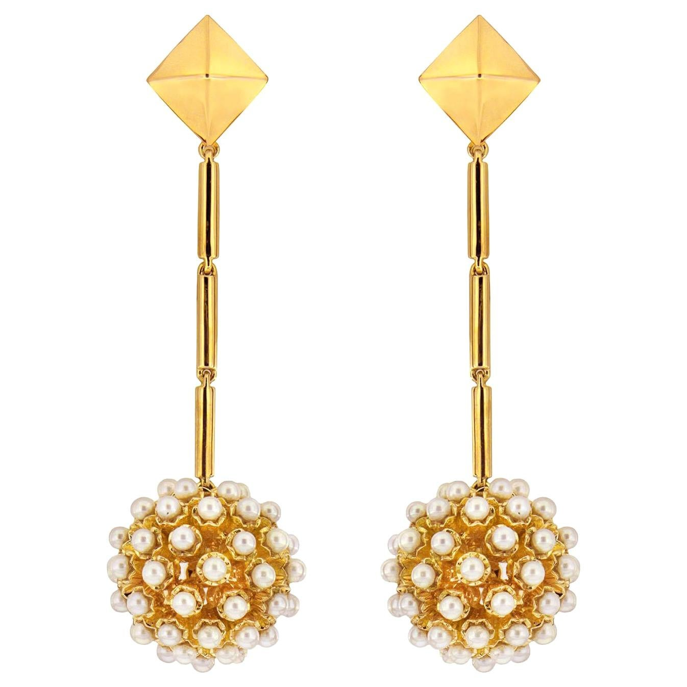 Valentin Magro Pearl Dangling Disco Ball and Gold Pyramid Top Earrings