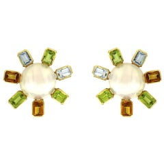 Valentin Magro Pearl Earrings with Citrines, Peridots and Aquamarines