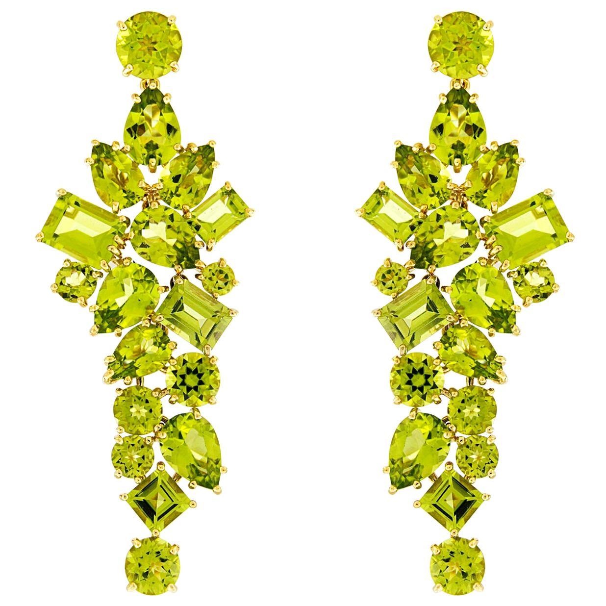 Valentin Magro Peridot 18 Karat Yellow Gold Dangling Earrings