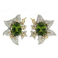 Valentin Magro Peridot and Diamond Leaf Earrings