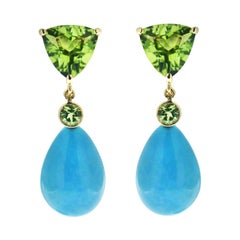 Valentin Magro Peridot and Turquoise Drop Earrings