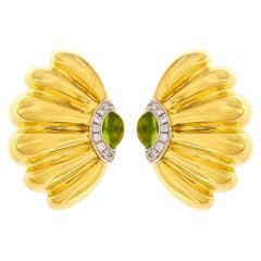 Valentin Magro Peridot Diamond Gold Sea Fan Earrings