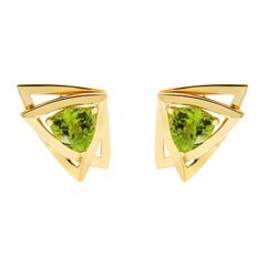 Valentin Magro Peridot Trillion Earrings in 18 Karat Yellow Gold