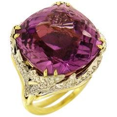 Valentin Magro Platinum Yellow Gold Diamond Unheated Kunzite Ring