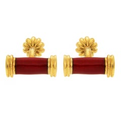 Valentin Magro Red Enamel Bar Cufflinks
