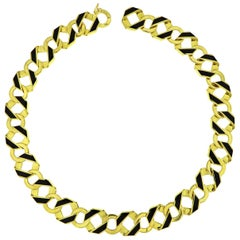 Valentin Magro Reversible Double-Sided Gold and Enamel Link Necklace