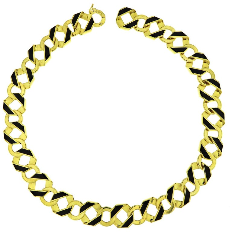 Valentin Magro Reversible Double-Sided Gold and Enamel Necklace For Sale