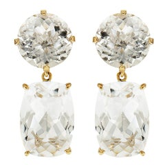 Valentin Magro Round and Cushion White Topaz Drop Earrings