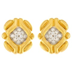 Valentin Magro Round Brilliant Pave Diamond Yellow Gold Tartlet Earrings
