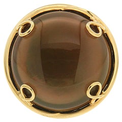 Valentin Magro Round Cabochon Brown Topaz and Mother of Pearl Helix Ring