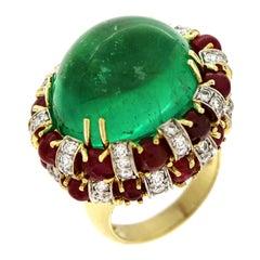 Valentin Magro Ruby Diamond Cabochon Colombian Emerald Ring