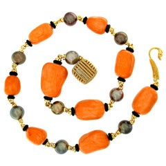 Valentin Magro Salmon Coral and Tahitian Pearl Necklace